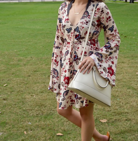 boho style dress with kate spade purse for a houston date night